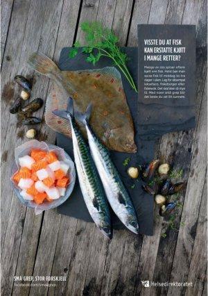 Plakater for kostrådene om grove kornprodukter, frukt og grønt, fisk, salt og sukker - vann