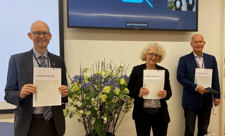 Direktører Geir Axelsen (SSB), Mari Trommald (Bufdir) og Bjørn Guldvog (Helsedirektoratet).