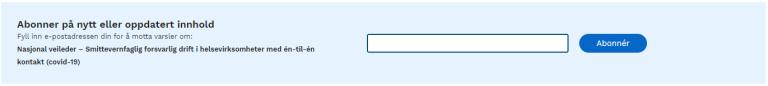 Eksempel på påmeldingsboks for å abonnere på nytt eller oppdatert innhold